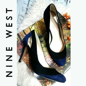 Suede Leather Upper NINE WEST pump heels Navy 7M